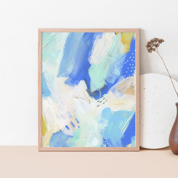Modern Coastal Abstract Painting Blue, White and Beige Ocean Wall Art Print or Canvas - Jetty Home