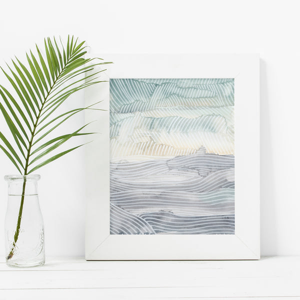 Beach Seascape Ocean Abstract Trendy Modern Wall Art Print - Jetty Home