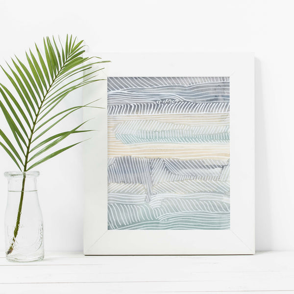 Abstract Modern Coastal Beach House Seascape Wall Art Print - Jetty Home