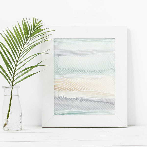 Beach Abstract Modern Surfer Watercolor Wall Art Print or Canvas - Jetty Home