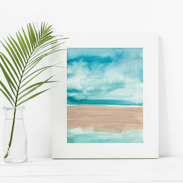 Abstract Beach Ocean Painting Watercolor Wall Art Print or Canvas - Jetty Home