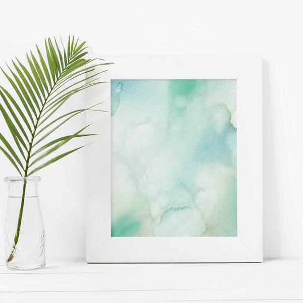 Blue Watercolor Beach House Painting Wall Art Print or Canvas - Jetty Home