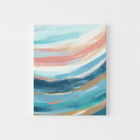 Modern Abstract Beach Ocean Waves Swell Painting Wall Art Print or Canvas - Jetty Home