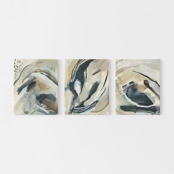 Fluid Abstract Paintings Triptych Set of Three Wall Art Prints or Canvas - Jetty Home