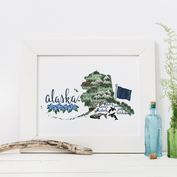 Alaska State Map Art Print - Jetty Home
