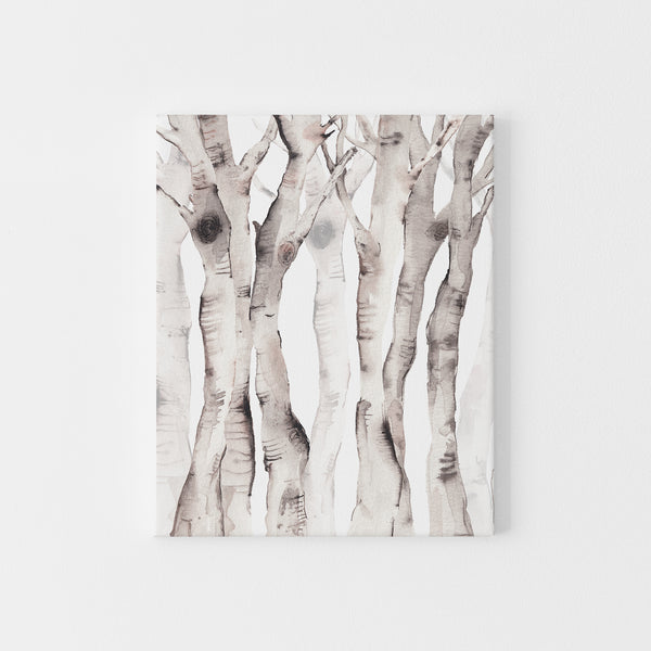 Modern Forest Birch Tree Watercolor Wall Art Print or Canvas - Jetty Home