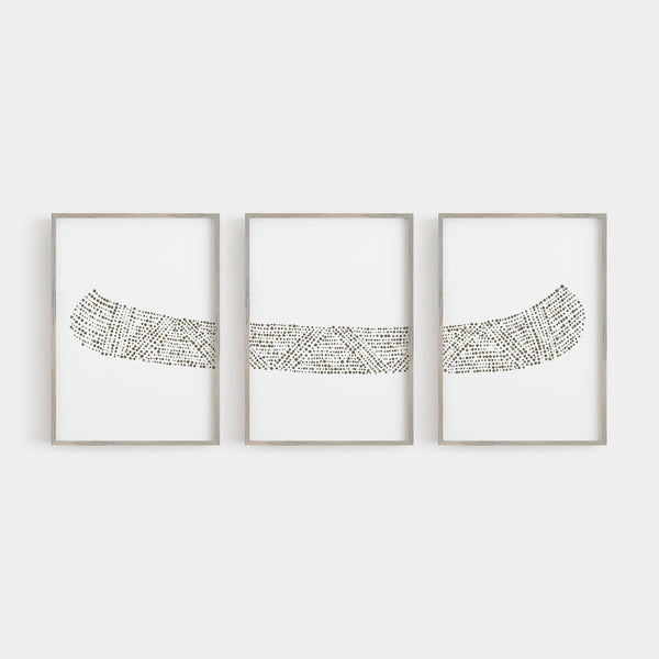 Modern Lake House Canoe Triptych Set of Three Wall Art Prints or Canvas - Jetty Home