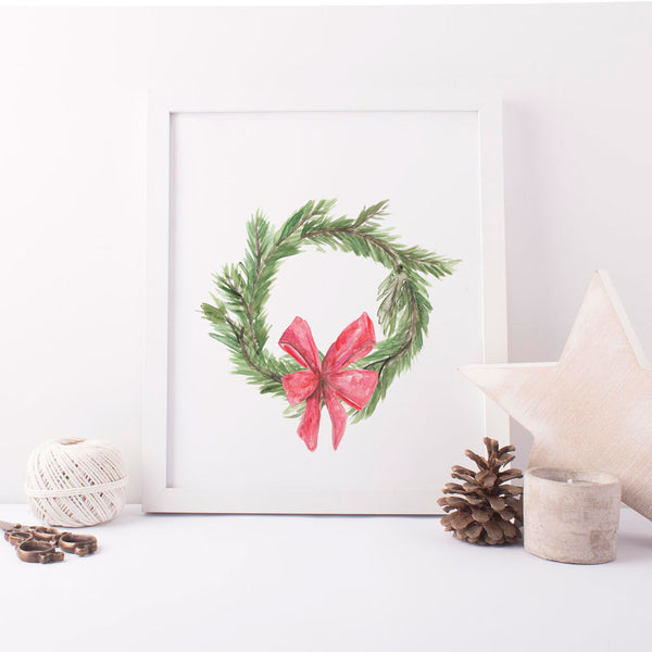 Green Watercolor Christmas Wreath Wall Art Print or Canvas - Jetty Home