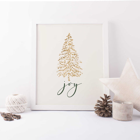 Modern Christmas Gold and Cream Joy Wall Art Print or Canvas - Jetty Home