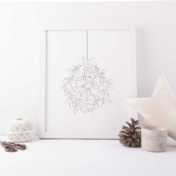 Holly Leaf Illustrated Christmas Ornament Wall Art Print or Canvas - Jetty Home