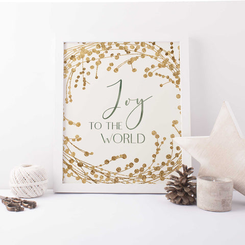 Joy to the World Gold and Cream Christmas Wall Art Print or Canvas - Jetty Home