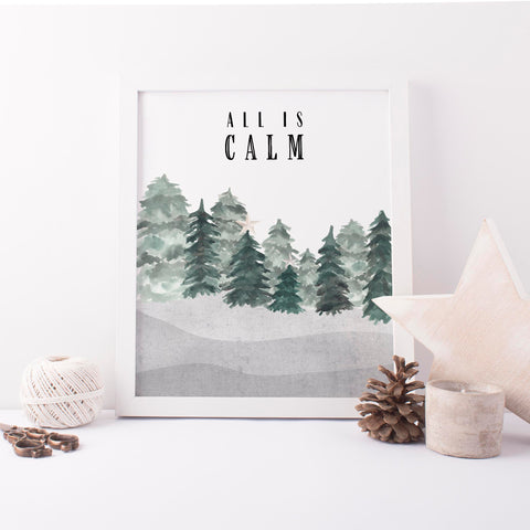All is Calm Modern Minimalist Christmas Wall Art Print - Jetty Home