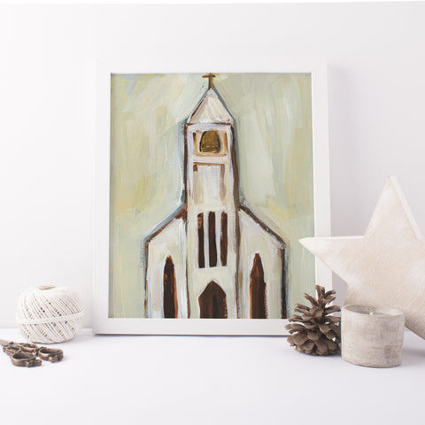 Cream and Beige Church Painting Christmas Wall Art Print or Canvas - Jetty Home