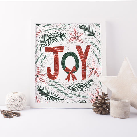 Christmas Joy Modern Holiday Decor Wall Art Print or Canvas - Jetty Home