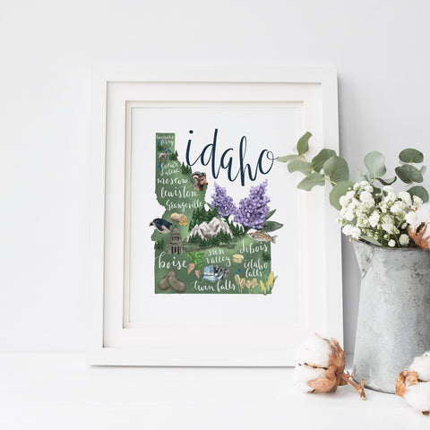 Idaho State Map Art Print