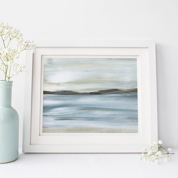 Modern Lake House Painting Neutral Wall Art Print or Canvas - Jetty Home