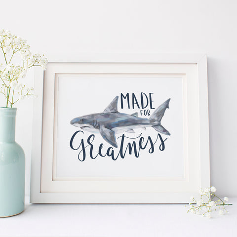 Made for Greatness Great White Shark Art Print or Canvas - Jetty Home