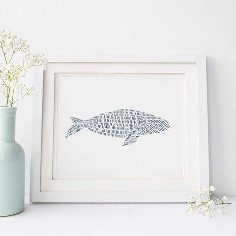 Minimalist Right Whale Illustration Blue and White Modern Beach Wall Art Print or Canvas - Jetty Home