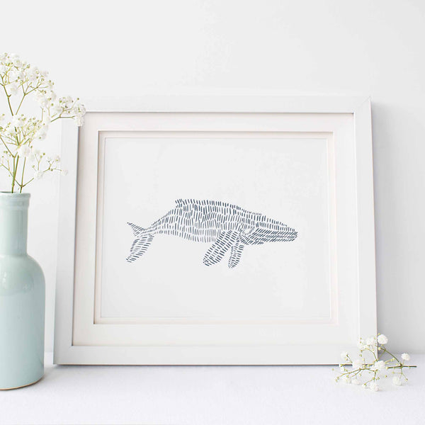 Modern Humpback Whale Drawing Minimalist Beach Wall Art Print or Canvas - Jetty Home