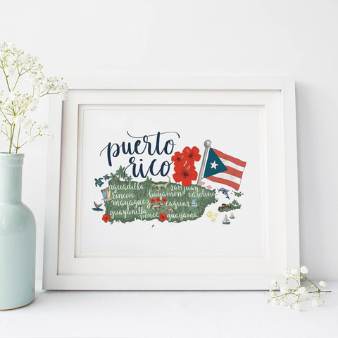 Puerto Rico Map Art Print - Jetty Home