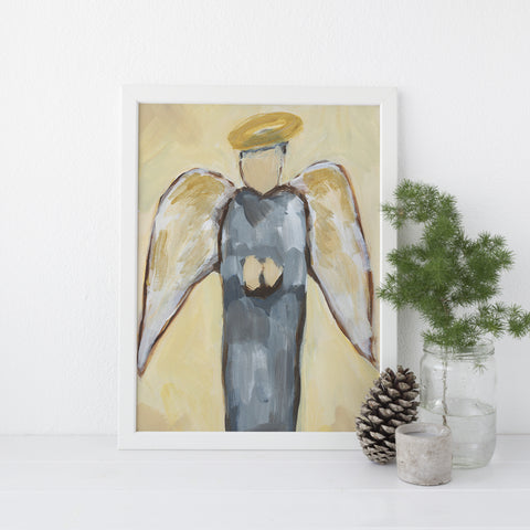 Angel Rustic Christmas Blue and Yellow Painting Wall Art Print or Canvas - Jetty Home