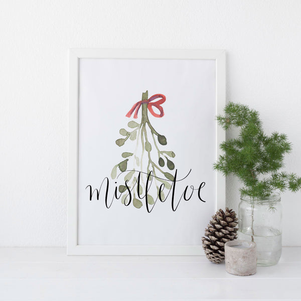 Watercolor Mistletoe Wall Art Print or Canvas - Jetty Home