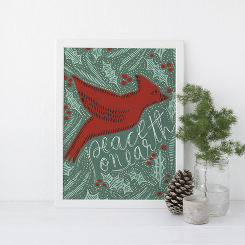 Peace on Earth Dove Red and Green Christmas Wall Art Print or Canvas - Jetty Home