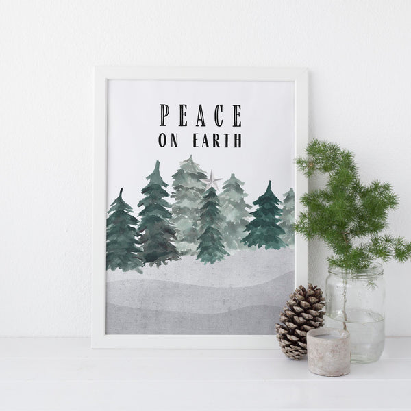 Peace on Earth Modern Minimalist Christmas Wall Art Print or Canvas - Jetty Home