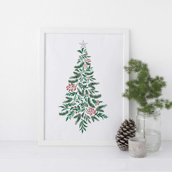 Modern Holly Christmas Tree Wall Art Print or Canvas - Jetty Home