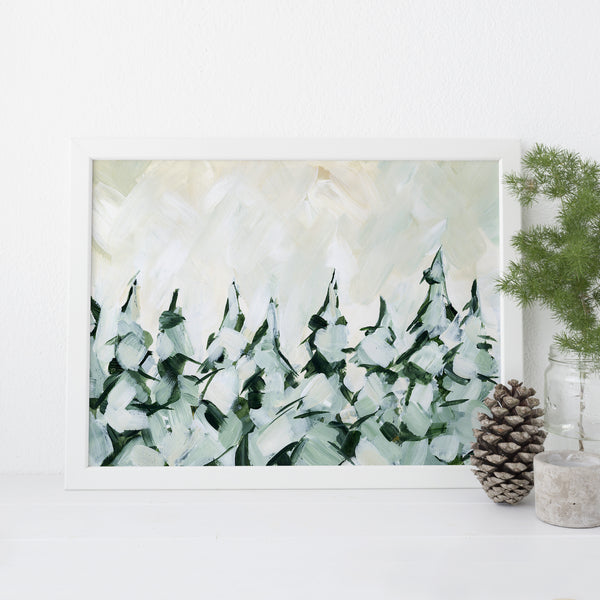 Snow Covered Evergreen Pine Tree Painting Wall Art Print or Canvas - Jetty Home