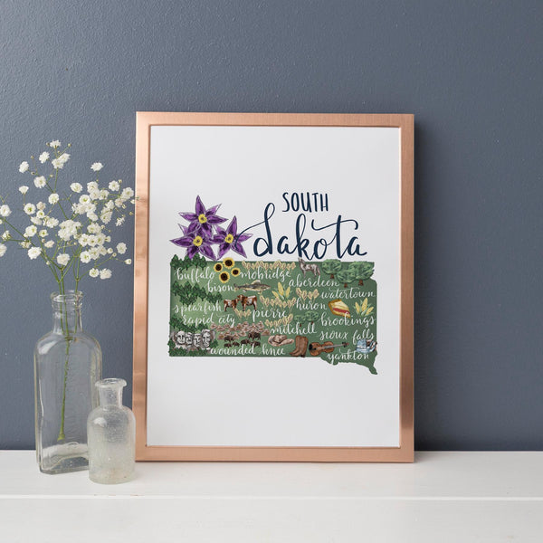 South Dakota State Map Art Print - Jetty Home