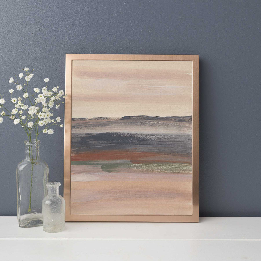 Abstract Desert Landscape Warm Neutral Beige Green Wall Art Print or Canvas - Jetty Home