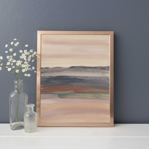 Abstract Desert Landscape Warm Neutral Beige Green Wall Art Print - Jetty Home