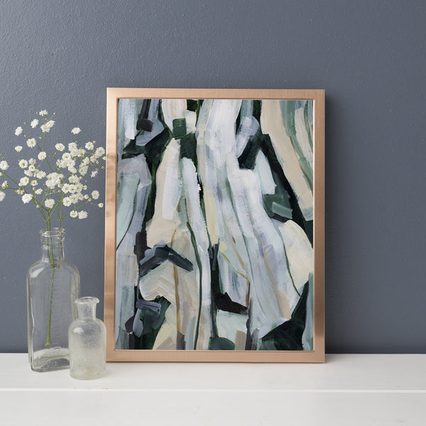 Abstract Forest Tall Trees Painting Neutral Wall Art Print or Canvas - Jetty Home