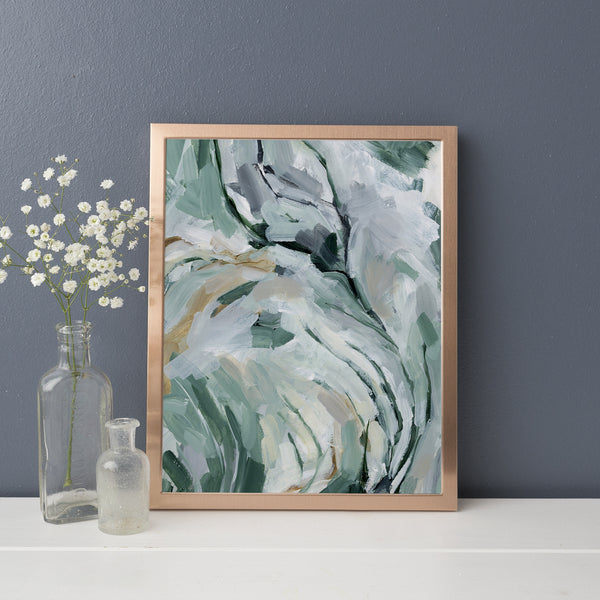 Mint and White Abstract Movement Painting Contemporary Wall Art Print or Canvas - Jetty Home