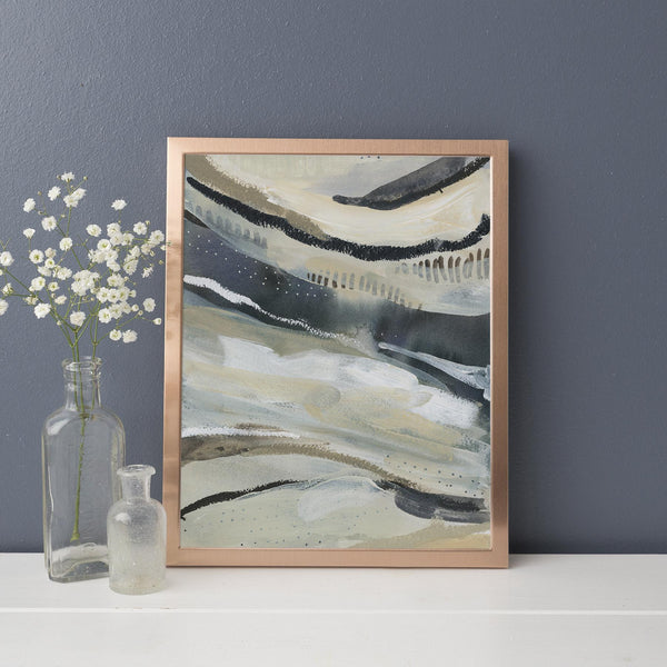 Neutral Navy Blue and Tan Modern Painting Wall Art Print or Canvas - Jetty Home