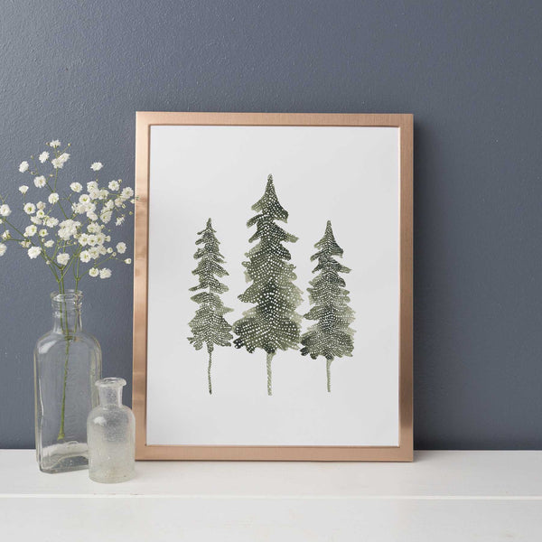 Watercolor Pine Tree Trio Modern Forest Wall Art Print or Canvas - Jetty Home