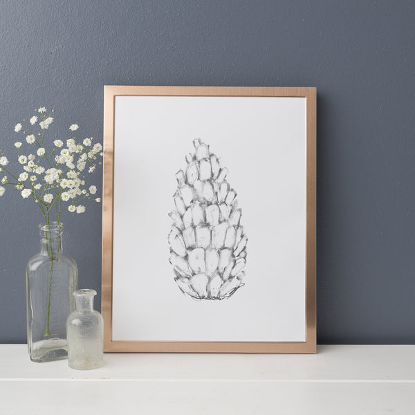 Pine Cone Winter Illustration Gray and White Wall Art Print or Canvas - Jetty Home