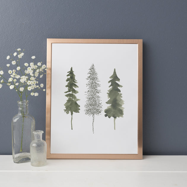 watercolor pine tree trio modern forest wall art print or canvas jetty home watercolor pine tree trio modern forest wall art print or canvas jetty home
