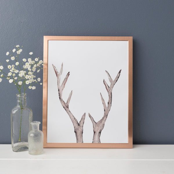 Rustic Deer Antler Watercolor Wall Art Print - Jetty Home