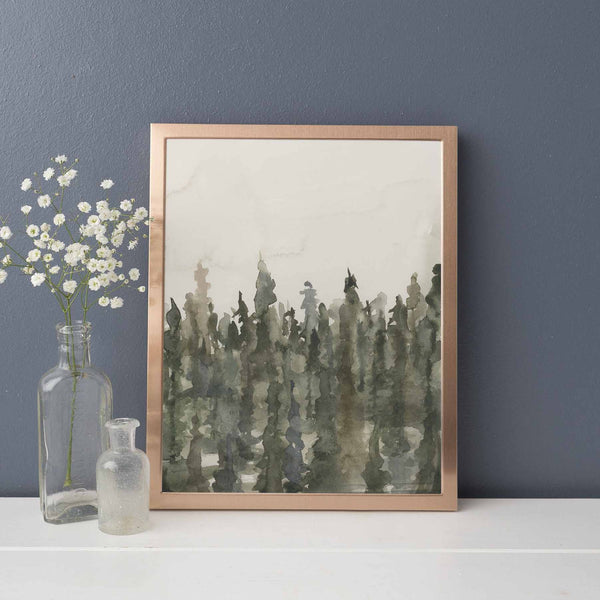 Tree Line Ethereal Fog Landscape Pine Watercolor Wall Art Print or Canvas - Jetty Home