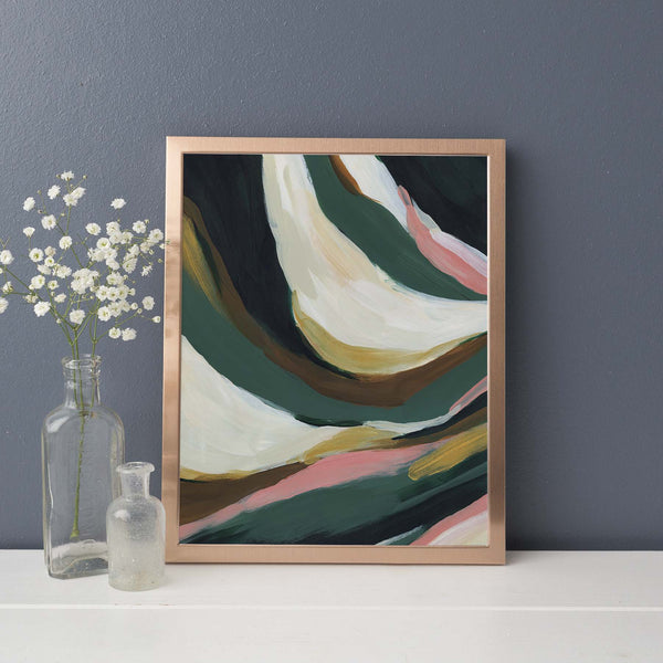Bold Abstract Statement Painting Green, Beige and Gold Wall Art Print or Canvas - Jetty Home