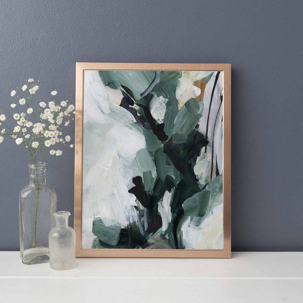 Forest Abstract White and Green Painting Wall Art Print or Canvas - Jetty Home