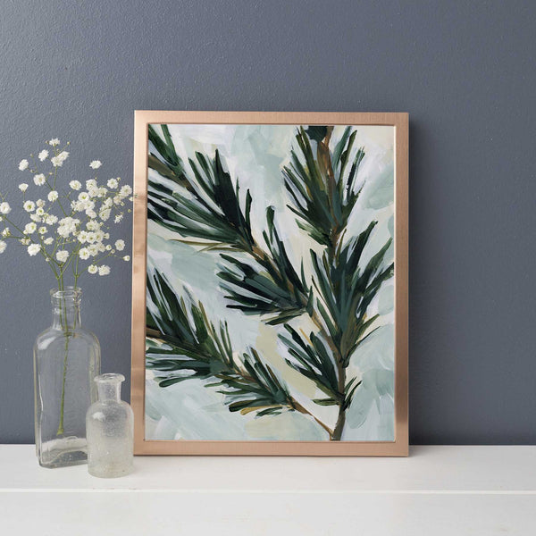 Pine Branch Painting Modern Cabin Artwork Wall Art Print or Canvas - Jetty Home