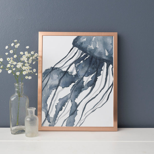 Indigo Blue Watercolor Jelly Fish Art Print - Jetty Home