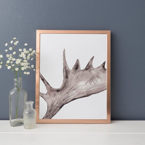Rustic Moose Antler Cabin Wall Art Print - Jetty Home