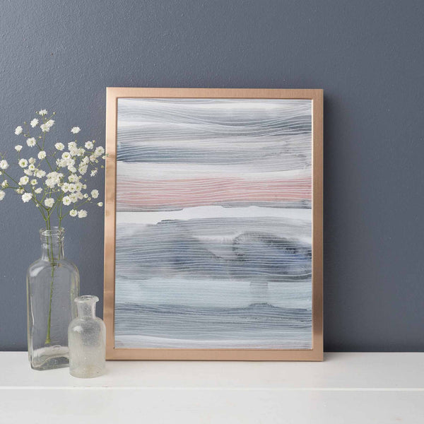 Modern Abstract Line Painting Watercolor Pink and Gray Wall Art Print or Canvas - Jetty Home