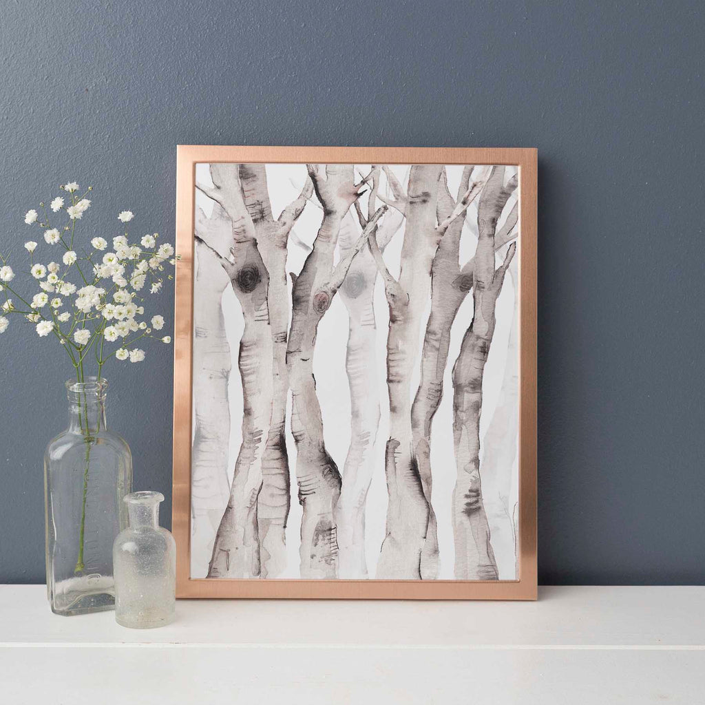 Modern Forest Birch Tree Watercolor Wall Art Print - Jetty Home