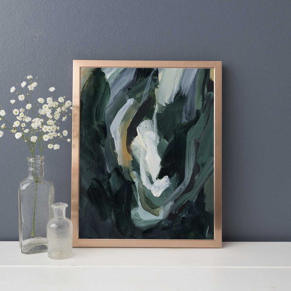 Dark Green Abstract Painting Forest Inspired Woodland Wall Art Print or Canvas - Jetty Home