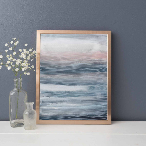 Blue, Gray and Pink Modern Watercolor Painting Nursery Wall Art Print or Canvas - Jetty Home